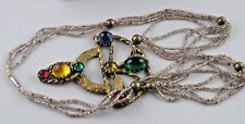 "Necklace 6 Strands Sm Beads Gold Metal Pendant 3"" Tall Multi Colored Cabochons"