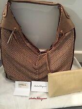 Vintage|Classic Salvatore Ferragamo Woven Bronze Tote Bag | Retail: $1,450