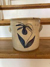"""Salt Glazed Stoneware, Colbalt Blue Flower Design 7.5"""" By 8"""""""