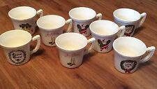 Vintage Set Of Christmas Mugs Santa Claus Bells Wreaths Cups USA Made