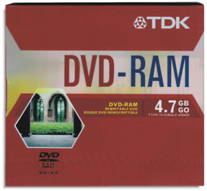 5-Pak TDK 4.7GB 3X DVD-RAM in Type-4 Cartridges with Hard Coating, #47944