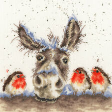 BOTHY THREADS HANNAH DALE CHRISTMAS DONKEY COUNTED CROSS STITCH KIT ROBINS XHD39