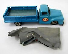 Vintage 1960's Japan Tin Friction Drive Haji US Air Force WW2 Blue Pick up Truck