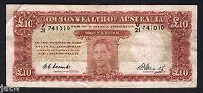 Australia R-60. (1949) 10 Pounds - Coombs/Watt.. George VI Portrait..  Fine+