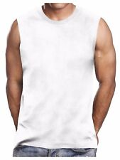 Mens Crew Neck T-Shirts Sleeveless Muscle Plain Tank Top Lot Heavy Weight S-5X