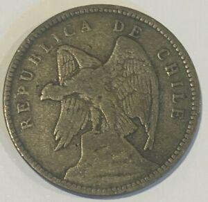 1908 Chile 40 Centavos Andean Condor 0.400 Silver Coin