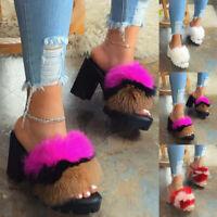 Women Slippers Slider Fluffy Fur High Heels Sandals Ladies Mules Summer Shoes