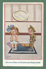 WWI COMIC PC BY LUDGATE - GIVE ME A KISS OR I'LL PINCH YOUR SUGAR CARD! RATIONS