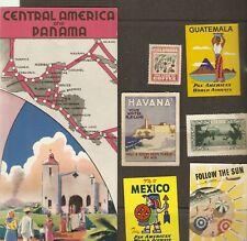 America Central & Panama Vtg Paa Route Map, (6) postr Stamp Colombia Havana