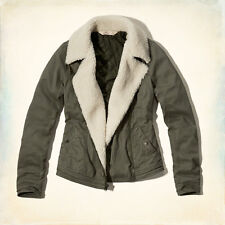 NWT Women Hollister Jacket Outerwear Coat Quilted Sherpa Collar Moto Style Twill