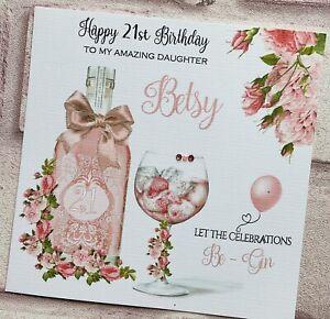 PERSONALISED Handmade BIRTHDAY CARD Pink Gin Mum Sister Granddaughter Daughter