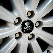 4pcs Car Wheel Center Hub Caps 56mm Metal Cross Bone Skull Logo Emblem Sticker