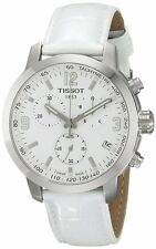 Tissot PRC 200 Chronograph Leather White Quartz Men Watch T0554171601700