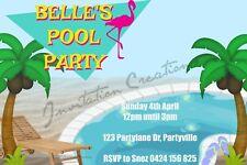 Diy Print Custom Mermaid Tropical Aloha Beach Pool Birthday Party Invitations