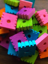 15 - 1-1/2 X 1-1/2 X 1/2'' Funky Wood Blocks- Bird Toy Parts