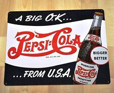 Pepsi Cola USA 38 cm Blechschild Blech Schild - Flasche A Big O.K...