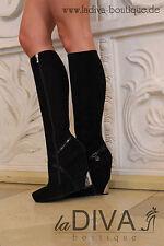 GERARDINA DI MAGGIO ~ Italy Luxus Keil Stiefel 38 Leder schwarz %SALE% OVP 479 €