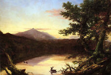 Charming Oil painting Thomas cole - Schroon Lake with deer in landscape canvas