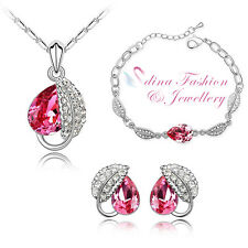 18K White Gold Plated Made With Genuine Swarovski Crystal Pink Teardrop Leaf Set