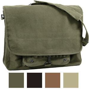 Vintage Military Messenger Shoulder Bag Paratrooper Stonewashed School Laptop