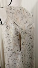 Breastfeeding Nursing Dress Size XL Tan Floral Vine Zip To Feed Linen Rayon NEW
