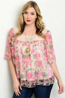 Women's Plus Size Flutter Sleeve Top Pink Roses Crocheted Neckline 1XL NWT