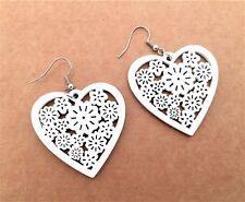 Fab Lightweight Heart Wooden Dangle Earrings Flower Design white UK seller
