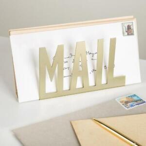 Modern Brass-Tone Metal Cutout-Design Desktop Snail MAIL Holder/Letter Organizer