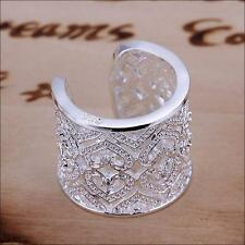 Fashion Heart Zircon Silver Plated Cuff Ring Jewelry