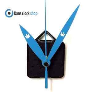 New Quartz Clock Movement Mechanism Motor & 95mm Novelty Blue Crown Metal Hands
