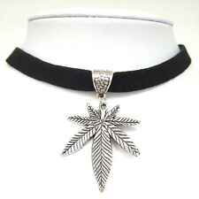 "Black 10mm Faux Suede Cord Marijuana Weed Leaf Charm 13"" Choker Necklace Gothic"