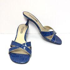 Women's MODA SPANA Blue Croc Print Cross Strap Kitten Heel Slides Size 8 M