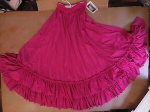 NWT Mainstreet Flamenco Drawstring Skirt Double Ruffle Ladies Szs Rasberry pink