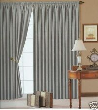 "90"" x 90"" Silver Faux Silk Fully Lined Pencil Pleat Silver Curtains"