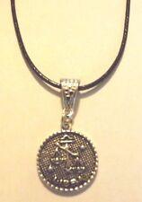 collier cordon ciré noir 47 cm avec pendentif médaille argentée zodiaque balance