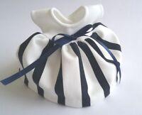 "Ginny 8"" Doll Clothes, Handmade Navy & Cream Ponti Knit 'Simone' Dress"
