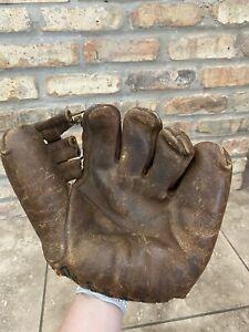 Vintage 1940s Spalding 165 Professional Model Baseball Glove Split Finger Button