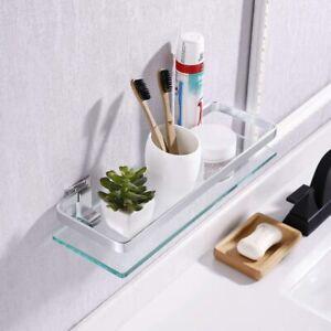 KES Aluminum Bathroom Glass Shelf Tempered Glass Rectangular 1 Tier Extra Thick