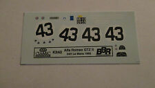 DECAL ALFA ROMEO GTZ II 24H LE MANS 1965 #43 BBR 1/43 COD.KIT40
