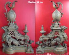 énorme devant de cheminée bronze, chimère aigle  fantastique, aiguière, paire