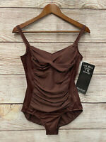 $158 Miraclesuit Slimming Swimsuit Womens Size 14 Brown One Piece Swimsuit New