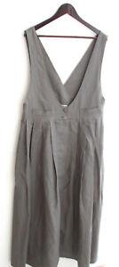Damen Trachten Kleid ärmellos Leinen taupe Gr. 40 v. Godiva