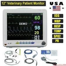 Portable 12 Veterinary Patient Monitor Nibp Spo2 Ecg Temp Resp Pr Animal Pet
