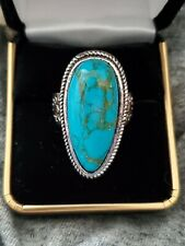 Turquoise Ring 925 Sterling Silver Large Womens Big Stone Ring New Size 8