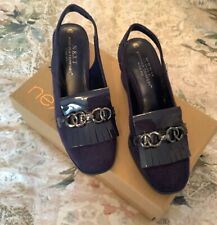 "NEXT BLUE SUEDE SLING BACK SHOES SIZE 4 CHAIN FRONT 2.5"" BLOCK HEEL"