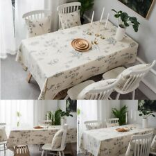 Flower Bee Tablecloth Cotton Linen Table Cloth Cover Rectangle Dining Desk Decor