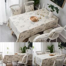 Flower Printed Cotton Linen Tablecloth Rectangular Kitchen Dining Table Cover