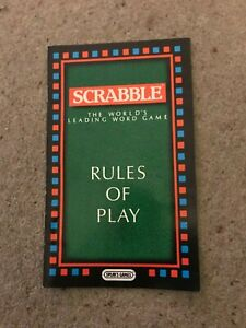 Scrabble Game, Set Of Instructions Booklet .Genuine Spears Games Part.