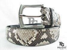"PELGIO Real Genuine Python Snake Skin Leather Casual Men's Belt 46"" Long Natural"