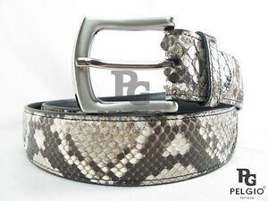 "PELGIO Genuine Natural Python Snake Skin Leather Soft Casual Men's Belt 46"" Long"